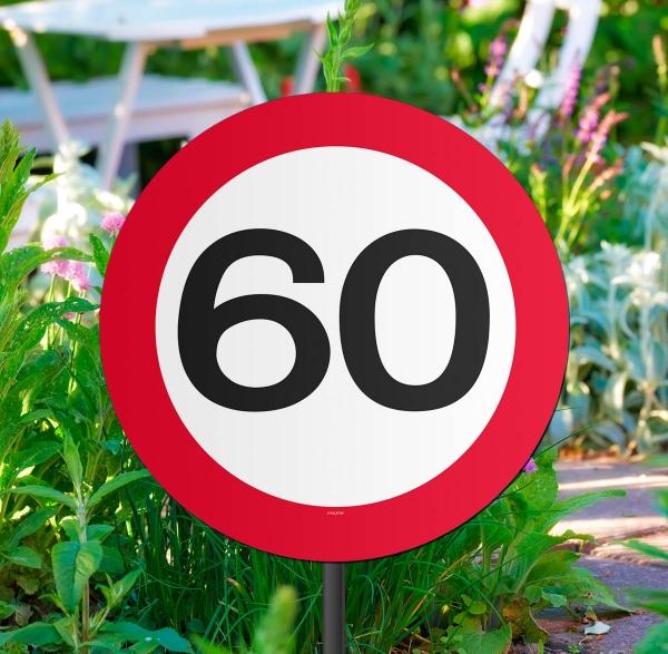 Gartenstecker verkehrsschild 60 geburtstag geschenk for 60 geburtstag dekoration