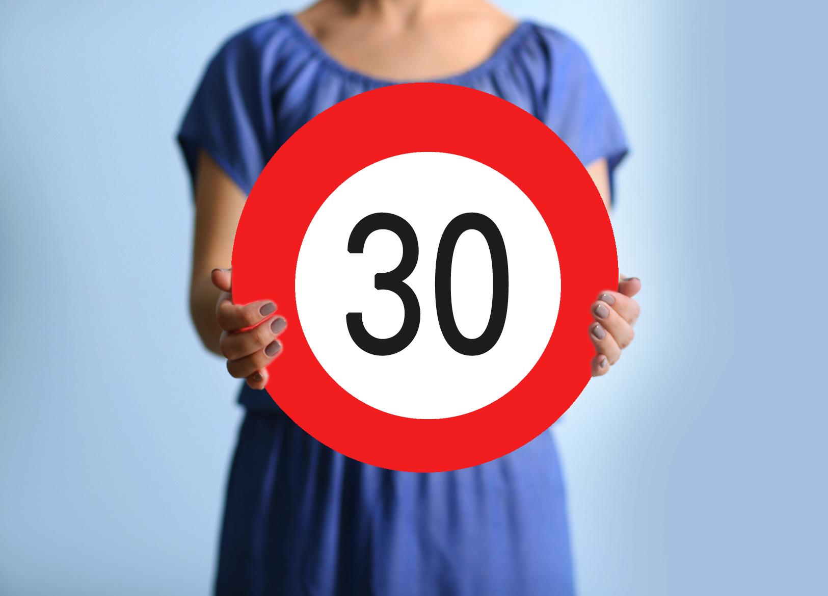 Karton Verkehrsschild 30 Geburtstag Carina Geschenke Ch