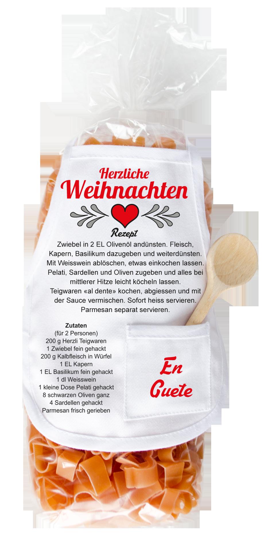 Herzliche Weihnachten Pasta - carina-geschenke.ch