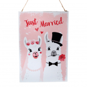 Just Married Lama Metallschild